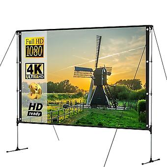 Portable Projector Screen Outdoor With Stand Bracket Screen 100 Inch 16:9 4k Ultra Hd 3d Fast Folding (100 Inch)