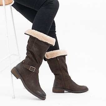 Heavenly Feet Bonnie Ladies Mid Calf Boots Brown