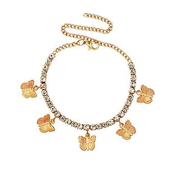 Fashion Butterfly Anklet Rhinestone Tennis Foot Chain Jewelry, Summer Beach,
