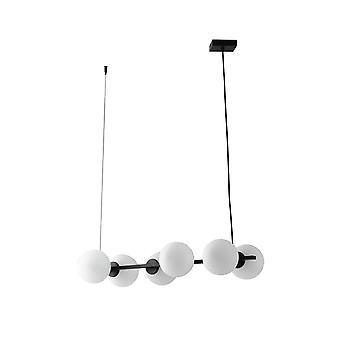6 Light Globe Bar Hanger, Zwart, Opaal, E14