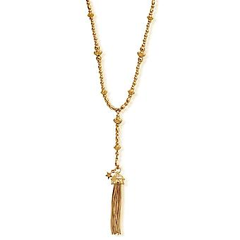 ChloBo GNF2104 Women's Gold Tone Fearless Necklace With Tassel