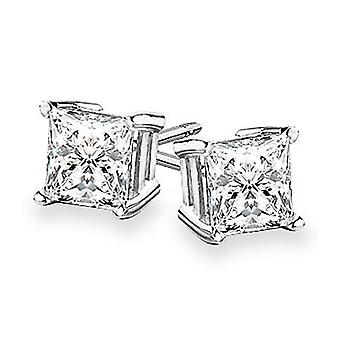 Boucles d'oreilles 14k Gold 4-Prong Princess Cut Diamond Stud 2.00 ct. tw.