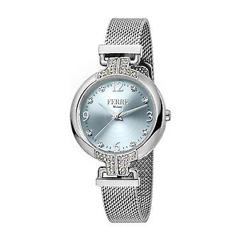 Ferre Milano Ladies Silver Dial  Mesh Watch