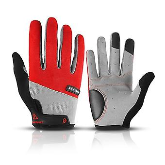Men Full Finger Gloves Shockproof Touch Screen Cycling Gloves Anti-slip Pu