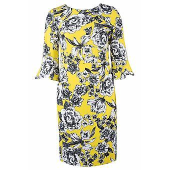 Floral Print Glocke Ärmel Mantel Kleid