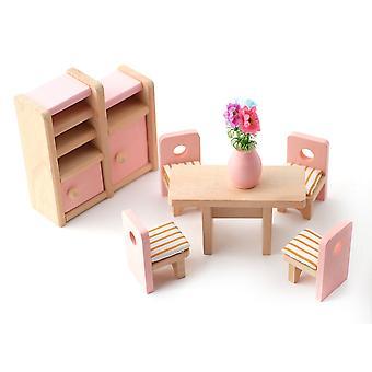 בית בובות ורוד שולחן וכיסאות חדר אוכל סט מיניאטורי 3 שנים + רהיטים