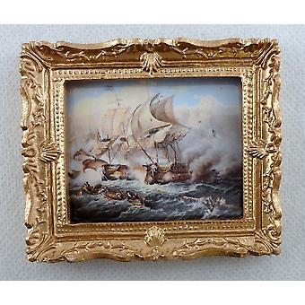 Melody Jane Dolls House Miniature Accessory Battle At Sea Painting Gold Frame