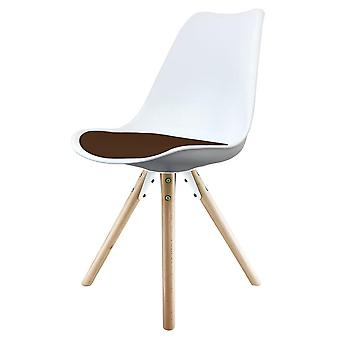 Fusion Living Eiffel Inspired White And Chocolate Brown Plastic Dining Chair With Pyramid Light Wood Legs