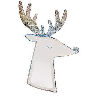 Meri Meri Silver Sparkle Reindeer Christmas Paper Plates - Partyware x 8