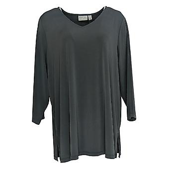 Susan Graver Women's Top Embroidered Liquid Knit Tunic Gray A373718