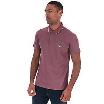 Men's Armani Tipped Pique Polo Shirt in Purple