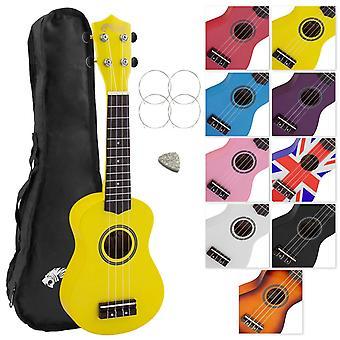 Tiger uke7 soprano ukulele for beginners includes gig bag, felt pick, spare set of strings - yellow