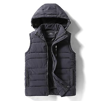 New Thick Hooded Sleeveless Winter Warm Cotton-padded Vests Waistcoat