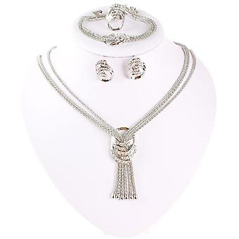 Beads Jewelry Sets, Wedding Costume, Women Party Gold Color Crystal Necklace,