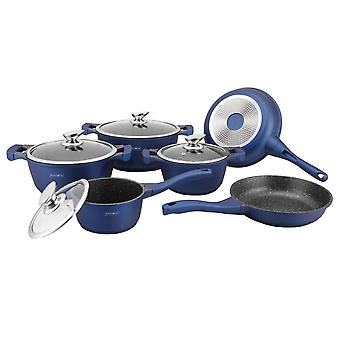 Frying pan and saucepan set, 6 Pans - Blue