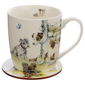 Porseleinen mok en onderzetters cadeauset - jan pashley honden