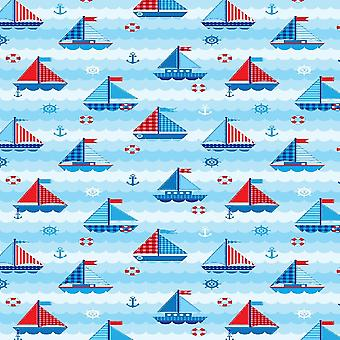 Tapete impresso de marinheiros infantis multicoloridos em poliéster, algodão, L120xP180 cm