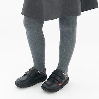 Kickers Kick Lo Kids Cuero Velcro Zapatos Negro