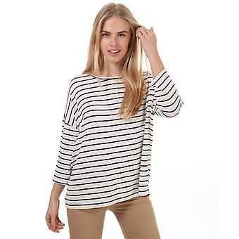 Women's Vero Moda Brianna 3 neljänneshihainen raidallinen pusero valkoisella