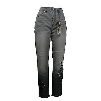 DG2 by ダイアン・ギルマン・ウーマン&アポス;sジーンズ刺繍ボタン プルオングレー 725-481
