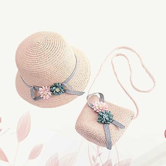 1 sada plážového přímořského slunečního klobouku s taškou Crossbody pro batolata