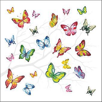 Ambiente 3 Ply Serviettes en papier, papillons colorés