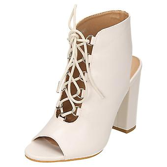 Koi Footwear Ankle Boots High Block Heel Peep Toe Lace Up Shoes