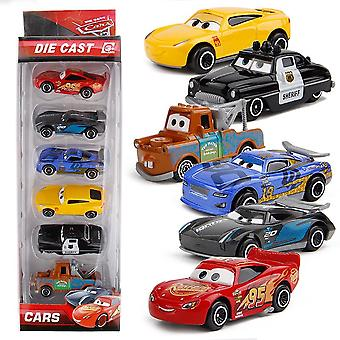 6kpl / erä Kids Boy Mini Racing Car Lightning Mcqueen Mater Seos Liukuva lelu