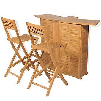 Conjunto bistro de 3 piezas con sillas plegables de madera de teca sólida