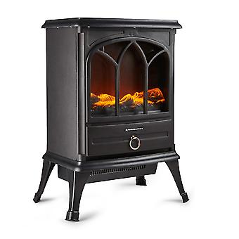 Freestanding 1800W Electric Stove Heater Fireplace with Wood Burning Effect