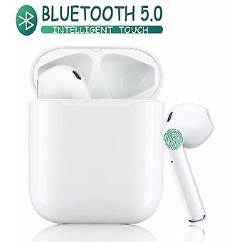 Tws i12 Wireless Bluetooth Earphones Bluetooth 5.0 Headsets Handsfree TWS Microphone 950mAh Charging Box Stereo Headset Waterproof Sport Earbuds Compatible with all smartphones-White