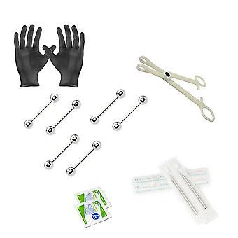 12-teiliges Langhantel-Piercing-Kit - enthält (6) 14g Langhanteln, (2) Nadeln, (1) Zangen, (2) Alkoholtücher und ein Paar Handschuhe