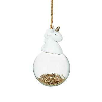 Heaven Sends Glass Unicorn Christmas Bauble