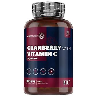 Cranberry With Vitamin C - 30,000mg 180 Capsules - High Strength Natural Cranberry Supplement