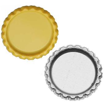 Final Sale - New Yellow Flat Crown Bottle Caps Craft Scrapbook Jewelry No Liners (50)