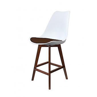 Fusion Living Eiffel Inspired White And Chocolate Brown Plastic Bar Stool With Dark Wood Legs