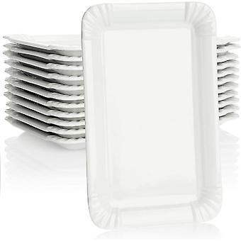 Wokex 12x Edle Porzellan-Teller - Dessert-Teller in weiß - Servierteller im Pommesschalen-Design -