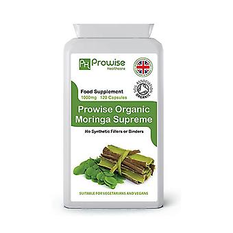 Moringa Oleifera Organic 500mg 120 Capsules | Suitable For Vegetarians & Vegans | Made In UK by Prowise
