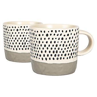 2x Puntos sumergidos de cerámica Tazas de café tazas de té de colores estampadas 385ml Gris