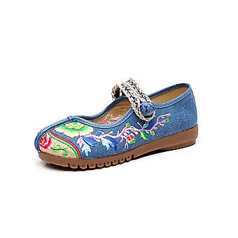 Women's Chinese Ethnic Embroidered Flat Ballet Wedding Dress Cheongsam Dance Shoes Fish Mouth