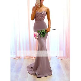 Mermaid Spaghetti Straps Lace Beaded Backless Long Wedding Party Dresses ( Set