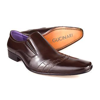 Gucinari F016R-P33 Men's Dark Brown Leather Slip On Shoes