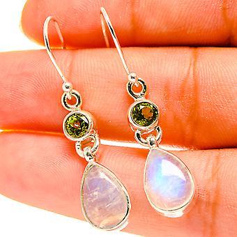 """Rainbow Moonstone, Peridot Earrings 1 5/8"""" (925 Sterling Silver)  - Handmade Boho Vintage Jewelry EARR417201"""