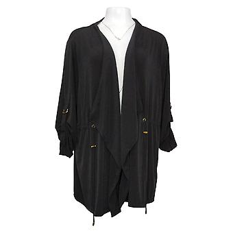 IMAN Global Chic Women's Plus Top Drape-Front Utility Topper Black 742655