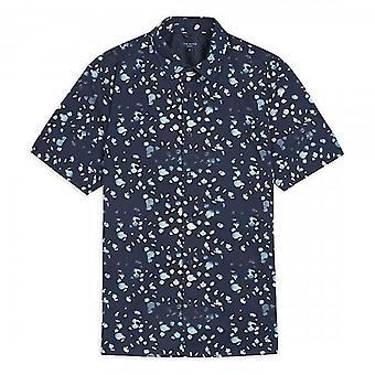 Ted Baker Thouhts Raindrop Print Navy Shirt met korte mouwen