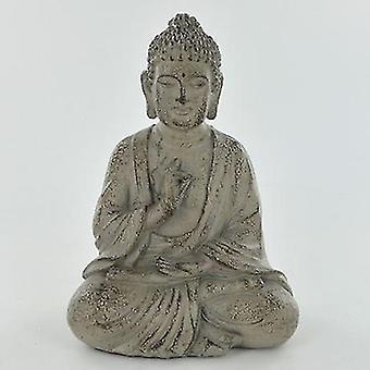 Stein Effeft Sittende Buddha Ornament 12cm