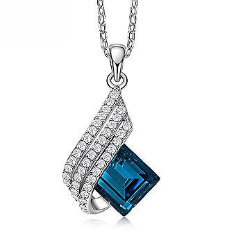 Kvinder halskæde blå S925 diamant indlejret glas krystal vedhæng kraveben kæde til fest