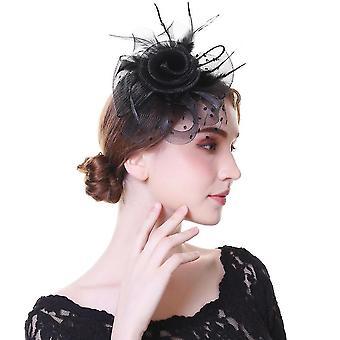 Flower Mesh Bänder, Federn Fedoras Hut - Party Headwear(E)