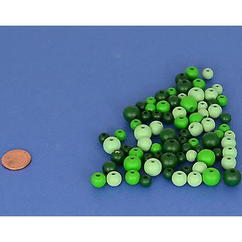 Assorti groen Mix houten kralen volwassenen ambachten - 25g Threading