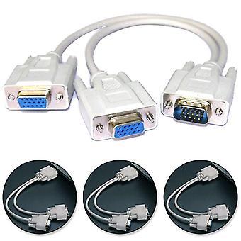 VGA SVGA 1 PC TO 2 Skærm Mand til 2 Kvindelige Y-adapter Splitter Kabel 15 PIN UK